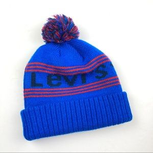 Levi's Knit Pom Pom Beanie Blue/Black/Red